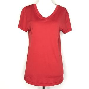 Nike Red V-Neck Athletic Workout Top A010632